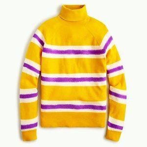 J. Crew Stripe Boiled Wool Turtleneck Sweater